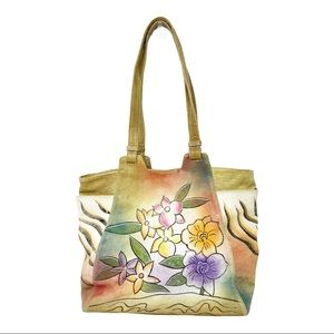 Great American leather works floral painted Tote